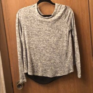 Grey top with black mesh back